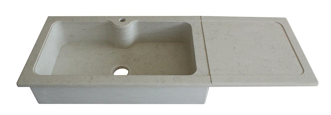Lavello massello in pietra bianco perlino satinato